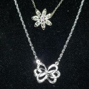 2pc Silver Fashion Necklaces